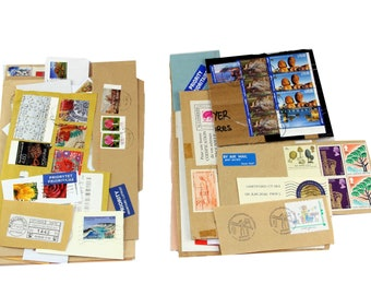 Bundles of post stamps, covers and labels, world tour mixed media supply, snail mail, vintage postage