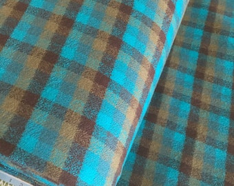 Flannel Fabric, Mammoth Plaid Flannel, Aqua Plaid, Flannel Pants fabric, Farmhouse decor, Robert Kaufman, Mammoth Flannel in Surf 215