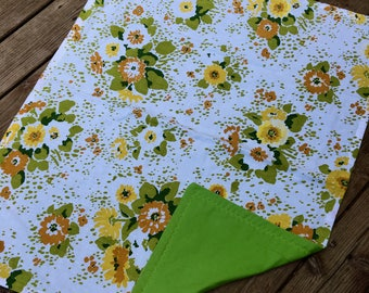 Vintage Linen Baby Blanket, Repurposed Retro Sheet, New Flannel, Funky and Fun