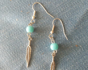 Blue Bead and Silver Feathered Earrings