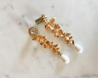 Gold Pearl Dangles 00g 0g 2g 4g Wedding Gauges 3mm 4mm 5mm 6mm 8mm 10mm