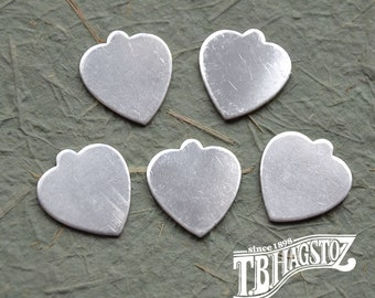 "Heart Shaped Discs Sterling Silver Disc with tab 18 gauge x 5/8"" x 7/8"""