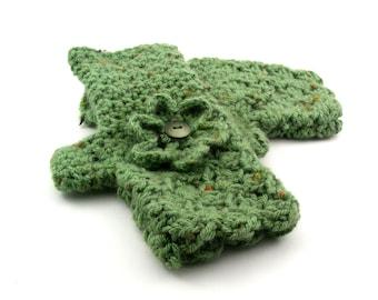 Pistachio Fleck Crochet Fingerless Gloves with Flower, Sage Green Texting Gloves, Green Wristwarmers, GL126-01