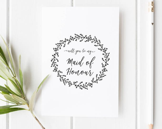 Featured listing image: Will you be my Maid of Honour Card // Wedding Role Proposal Card // Wedding Duty Request // Hand Drawn Wreath // Rustic  // Boho wedding