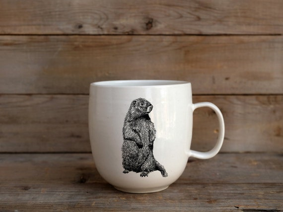 Handmade Porcelain coffee mug with woodchuck drawing Canadian Wildlife collection