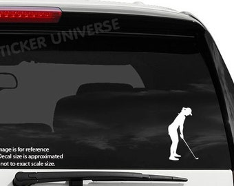 """Female Golfer Tee Off Die Cut Vinyl Decal Sticker 2.5""""X4.5"""" Golfing Golf Club"""