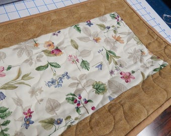 Quilted Table runner / Table Topper Centerpiece Longaberger botanical fields fabric
