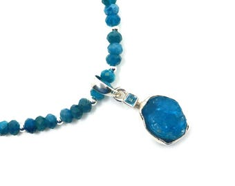 Gemstone necklace for wife, apatite, Mothers day gift, anniversary gift
