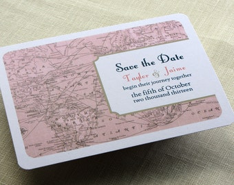 Vintage Wedding Save the Date Postcard - Vintage Map - Destination Travel Theme - Color and Font Options