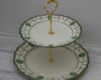 Vintage Cake Stand, Green Matching Plates, Two Tier Cake Stand