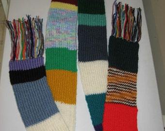 Colorful Stripes One of a Kind Knit Scrap Yarn Scarf