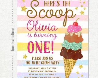 ice cream 1st birthday invitation for girl, rainbow here's the scoop stripes pink glitter, ice cream social birthday party invitation