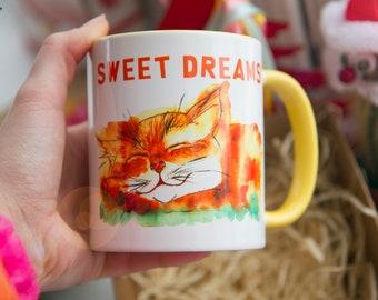 Cat Mug Watercolor Ceramic Mug Kitten art original art  Coffee Mug Animal Mug Tea Cup Art Illustration Art Printed mug Animal Gift Cats