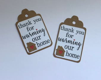 Thank You for Warming Our Home Favor Tags, Housewarming Gift Tags, Home Sweet Home Gift Tags