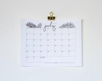 July 2017 Printable Calendar - Black and White