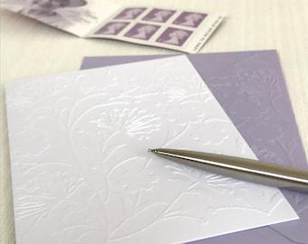 Dandelion Cards (No.103) - Pack of 6 Embossed Dandelion Note Cards. Wild Flower Cards. Floral Stationery. Flower Cards. Floral Cards