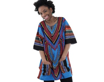Africa Traditional Heart Of Africa Dashiki - Light Blue