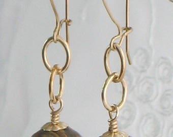 14k Gold-Filled Multi-Colored Quartz Chain-Link Earrings