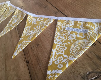 Handmade Mustard Yellow White Polly Floral Print Bunting