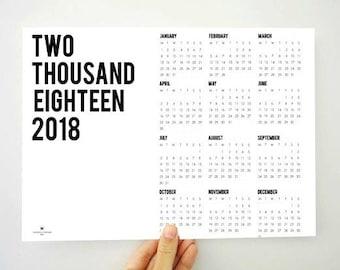 2018 Calendar, Upper Left Printable Calendar, Two Thousand Eighteen Calendar, Yearly Calendar, Wall Calendar, 2018 Planner, PDF Calendar