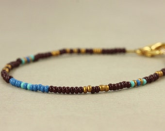 Seed Bead Bracelet Minimalist Jewelry Multicolor Bracelet Maroon Blue Gold Best Friend Bracelet Dainty Thin Simple Bracelet Stocking Stuffer