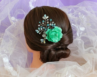 Wedding Accessories Handmade Jewelry Bridal Decoration Headpiece hair Invisible flower rose Crystal