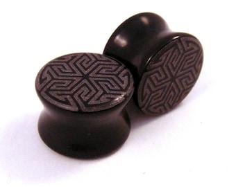 "Maze of Life Black Glass Plugs - 0g (8mm) 00g (10mm) 7/16"" (11mm) 1/2"" (13mm) 9/16"" (14mm) 3/4"" (19mm) Opaque Ear Gauges"