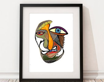 Abstract Wall Art,Abstract Face,Modern Graphic Art,Ink Illustration Print,Ink Drawing Print,Home Decor,Eclectic Art,Face Art,Interior Design