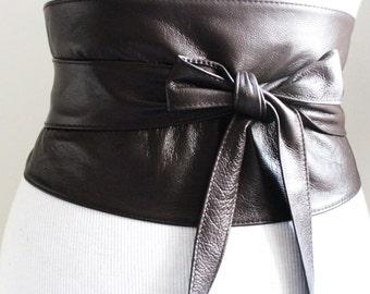 Brown Leather Corset Obi Belt, Dark Brown Soft Wide wrap belt, Obi Belt, Corset belt, Dark brown Belt
