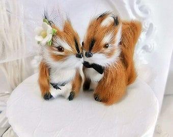 2018 WEDDING  ooak  romantic squirrel wedding cake topper or anniversary wedding cake