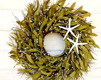 COASTAL STAR FISH Twig-Teal Wreath-Coastal Home Decor-Bathroom Decor-Rustic Home Decor-Holiday Gifts-Bathroom Decor-Custom-Choose your Scent
