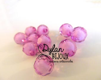 Faceted acrylic bead 10 mm / light purple