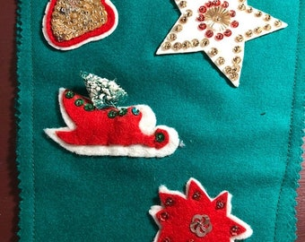 SUMMERSALE Vintage, Beautiful, Christmas Stocking, made of, Felt and Sequins, very nice