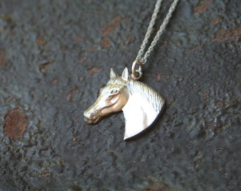 Vintage Sterling Silver Horse Head Charm Necklace