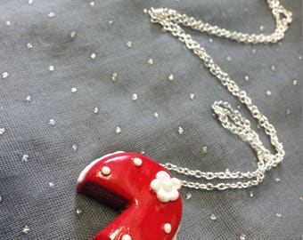 Chocolate Cherry cake necklace