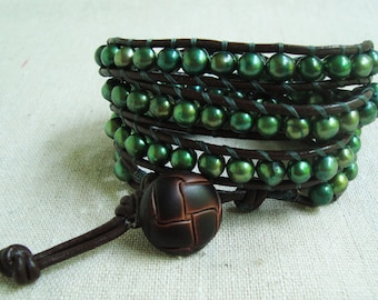 It's A Wrap - Brown Leather & Forest Green Freshwater Pearls Wrap Bracelet with Brown Button Closure