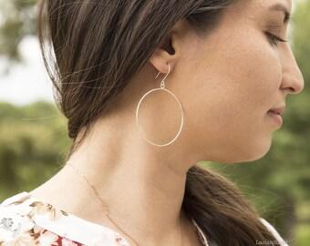 Circle Hoop Earrings in Sterling Silver, Geometric Hoops, Simple Silver Hoops, Geometric Earrings, Large Silver Hoops, Dainty Earrings