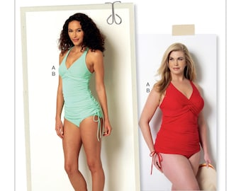 Butterick Pattern BP290/B6360 Misses'/Women's Tankini Swimsuit with Ruched Sides and Crossed Straps 18W-24W New