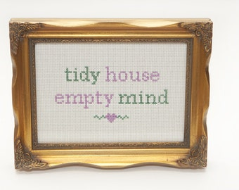 Tidy House Empty Mind Instant Download Cross Stitch PDF Pattern Chart