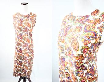 1960's Cotton Bright Paisley Sleeveless Shift Dress