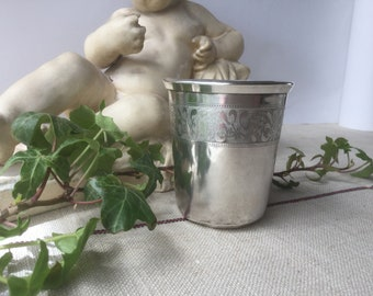 French vintage silver sterling Goblet, Silver cup with mistletoe with mark mercury's head