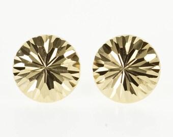 14k Domed Grooved Snowflake Burst Design Post Back Earrings Gold