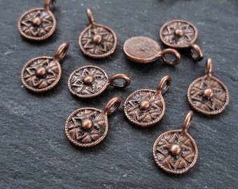 15 Mini Round Tribal Dot Charms Antique Copper Plated