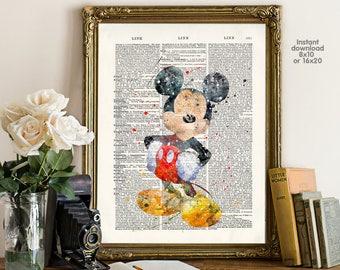 Mickey Poster - mickey wall art - Mickey birthday - Wall art, Poster Dictionary art, Dictionary Art - Print Wall Decor, Nursery Wall Art