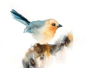 Bird Watercolor Painting, ORIGINAL Watercolor Painting, Blue Yellow Painting of Bird, Watercolour Bird Art Painting