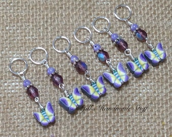 Butterfly Stitch Markers | Snag Free Beaded Knitting Markers | Gift for Knitters