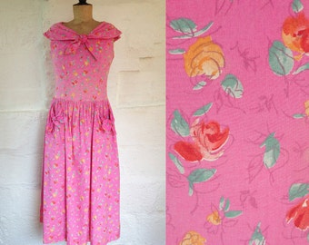 1980s 'Laura Ashley' Darling Buds of May Dress / 50s Style Day Dress / Vintage Floral Dress / Size UK 12