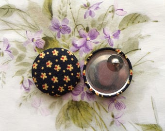 Oversized Button Earrings / Statement Jewelry / Bohemian Style / Small Gifts / Stud Earrings / Black and Yellow / Made in USA / Wholesale