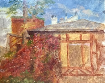 House in Northern France  (antique oil painting)