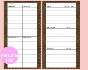 Personal Week on Two Pages Compact Printable Week on Two Pages Planner Printable Personal Planner Printable Personal Compact